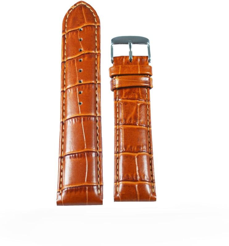 Kolet Croco Padded 20 mm Leather Watch Strap(Tan)