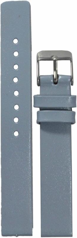 Kolet Glossy Finish GY 14 mm Leather Watch Strap(Grey)