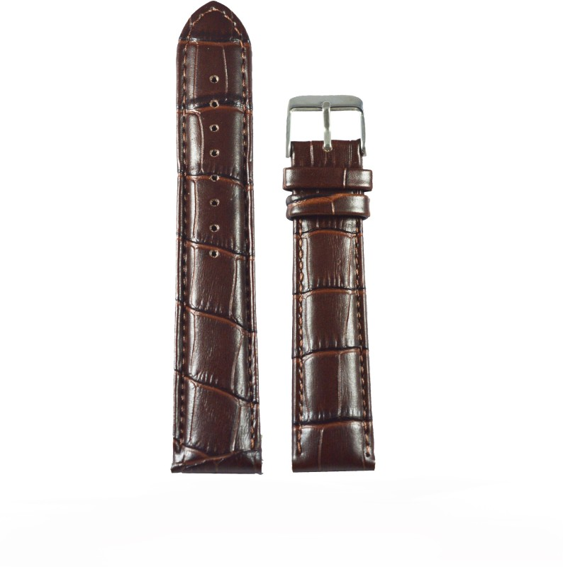 Kolet Croco Padded 18 mm Leather Watch Strap(Brown)