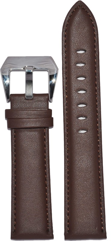 Kolet Plain Padded 24BR 24 mm Leather Watch Strap(Brown)