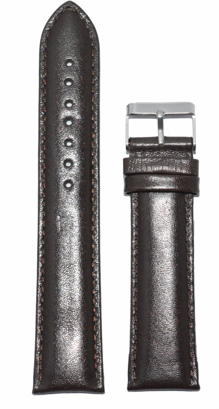 Kolet Plain Padded 20 mm Leather Watch Strap(Cherry Brown)