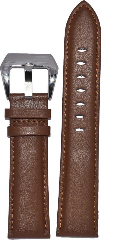 Kolet Plain Padded 24T 24 mm Leather Watch Strap(Tan)