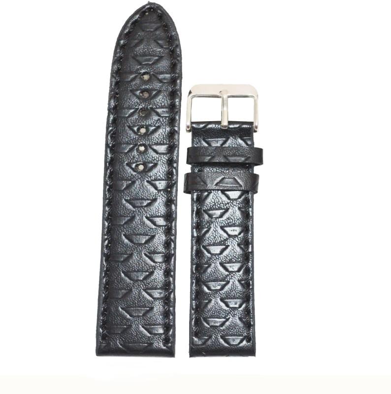 Kolet Mesh 22 mm Leather Watch Strap(Black)
