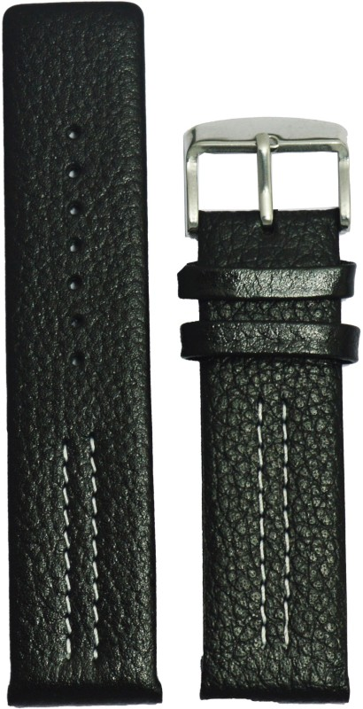 Kolet Parallel Dotted 24B 24 mm Leather Watch Strap(Black)