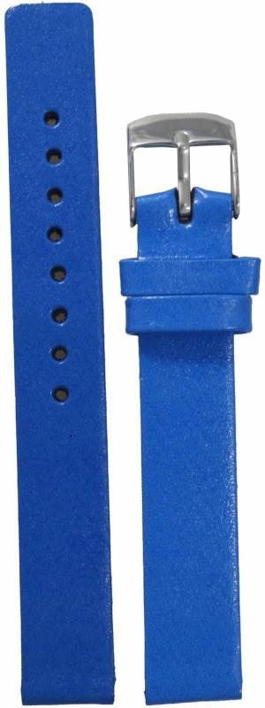 Kolet Glossy Finish 14 mm Leather Watch Strap(Blue)