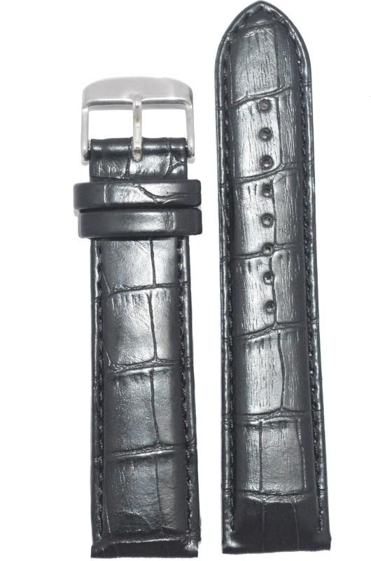 Kolet Croco Padded 24B 24 mm Leather Watch Strap(Black)