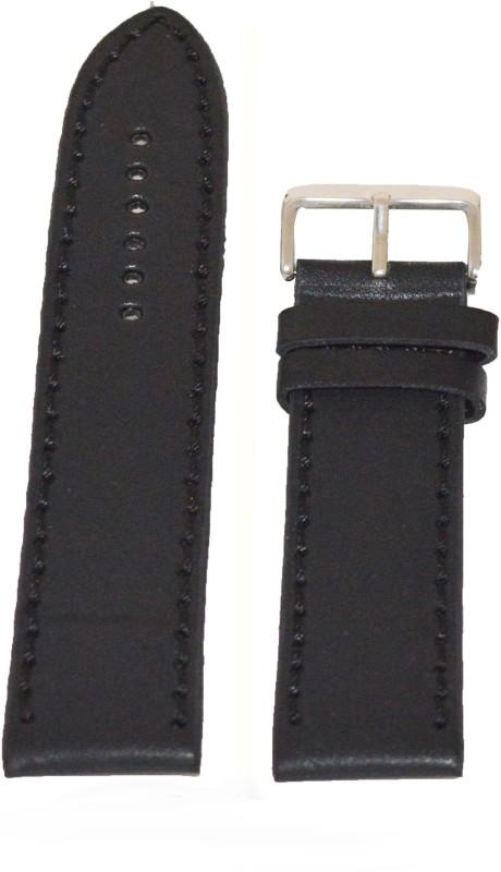 Kolet Plain Matte Finish 18 mm Leather Watch Strap(Black)