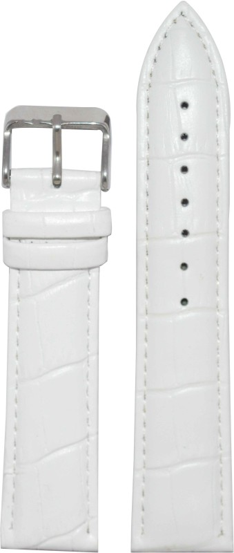 Kolet Croco Padded T24W 24 mm Leather Watch Strap(White)