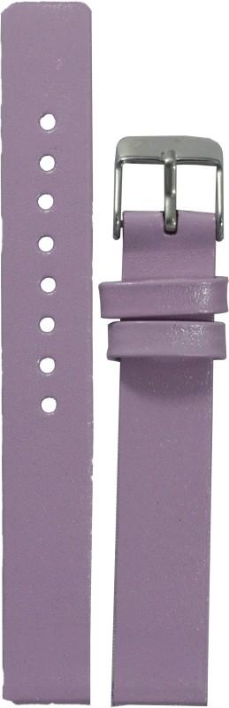 Kolet Glossy Finish LPU 14 mm Leather Watch Strap(Light Purple)