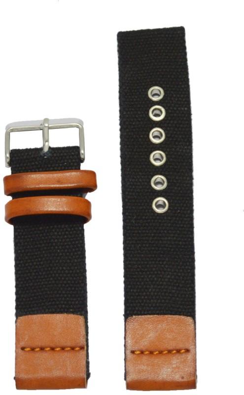 Kolet Denim 22T 22 mm Leather Watch Strap(Black, Tan)
