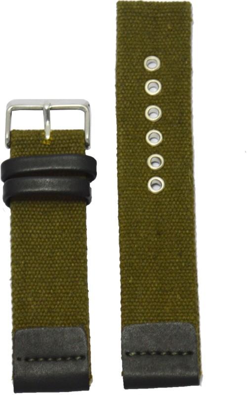 Kolet Denim 22 mm Leather Watch Strap(Green, Black)