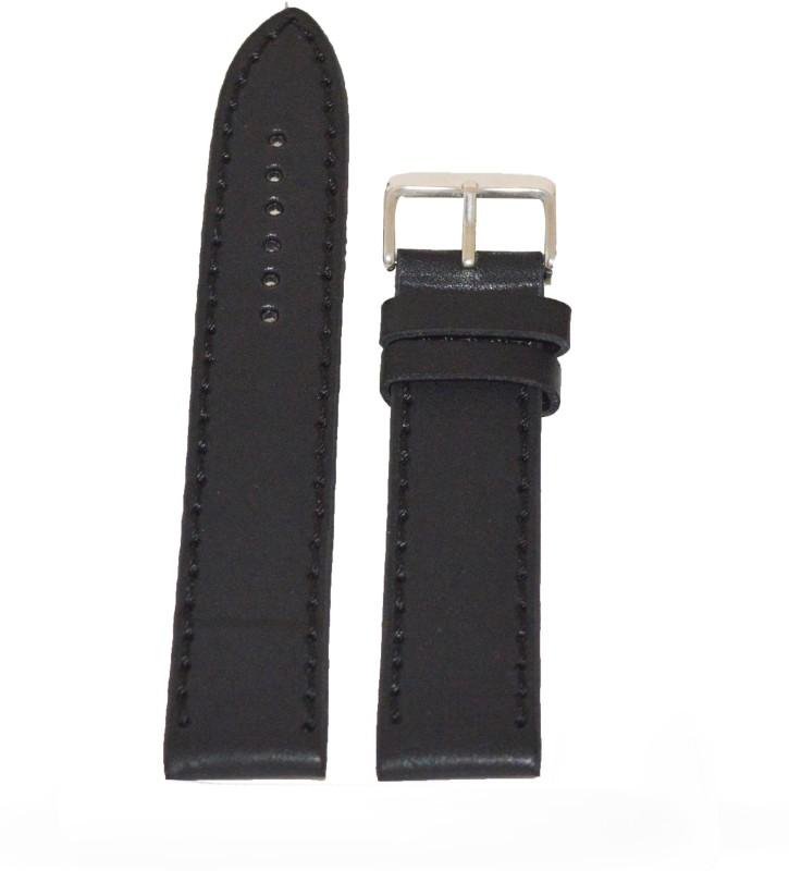 Kolet Plain Matte Finish 22 mm Leather Watch Strap(Black)