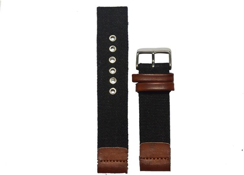 Kolet Denim 22BR 22 mm Denim Watch Strap(Black, Brown)