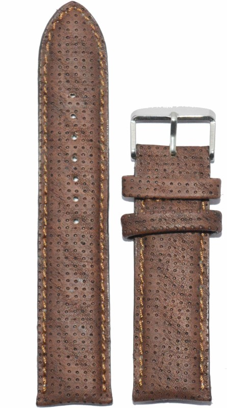 Kolet Padde Dotted Texture 22BR 22 mm Leather Watch Strap(Brown)