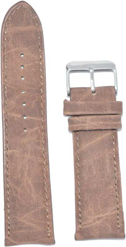 KOLET Textured Matte Finish Padded 20BR 20 mm Leather Watch Strap(Brown)