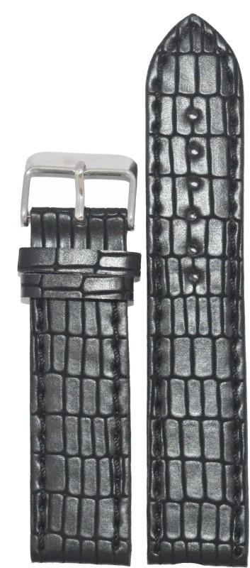Kolet Reptile24B 24 mm Leather Watch Strap(Black)