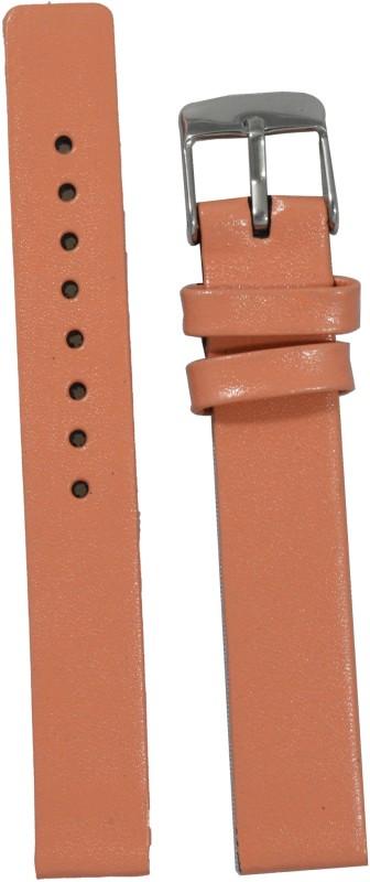 Kolet Glossy Finish PE 14 mm Leather Watch Strap(Peach)