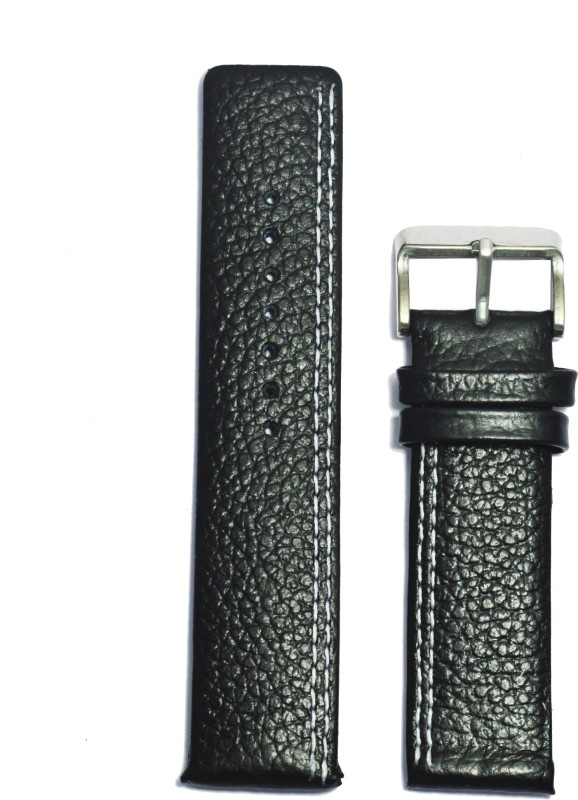 Kolet Parallel Leather 22B 22 mm Leather Watch Strap(Black)