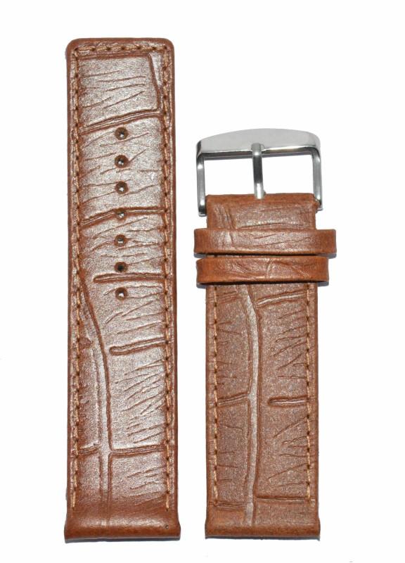 Kolet Croco Texture Matte Finish 22T 22 mm Leather Watch Strap(Tan)