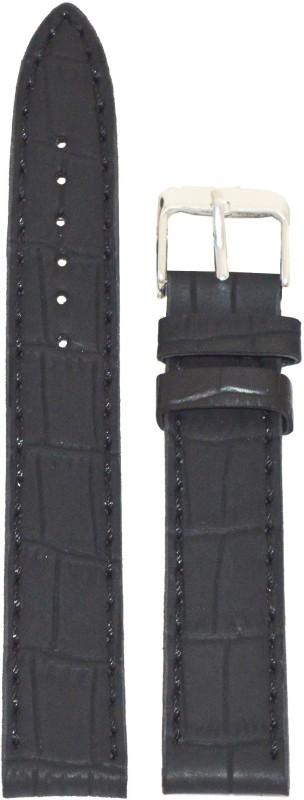 Kolet Croco Matte Finish 24 mm Leather Watch Strap(Black)