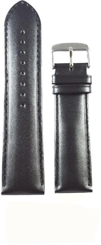 Kolet Plain Padded 24 mm Leather Watch Strap(Black)