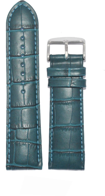 Kolet Croco 22P 22 mm Leather Watch Strap(Peacock Blue)