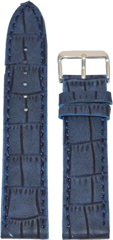 Kolet Croco Matte Finish 22 mm Leather Watch Strap(Blue)