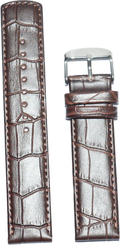Kolet Croco Parallel P20 20 mm Leather Watch Strap(Brown)