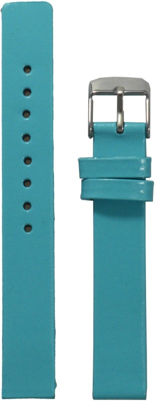 Kolet Glossy Finish TBU 14 mm Leather Watch Strap(Turkish Blue)