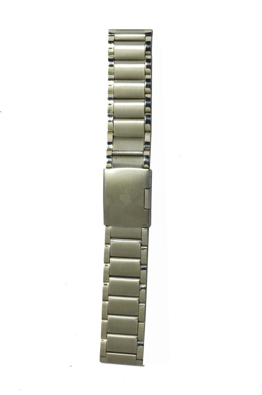 Kolet Two Tone Solid 24 mm Stainless Steel Watch Strap(Silver)