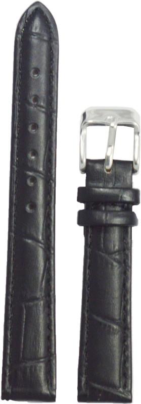 Kolet Croco Padded 14 mm Leather Watch Strap(Black)