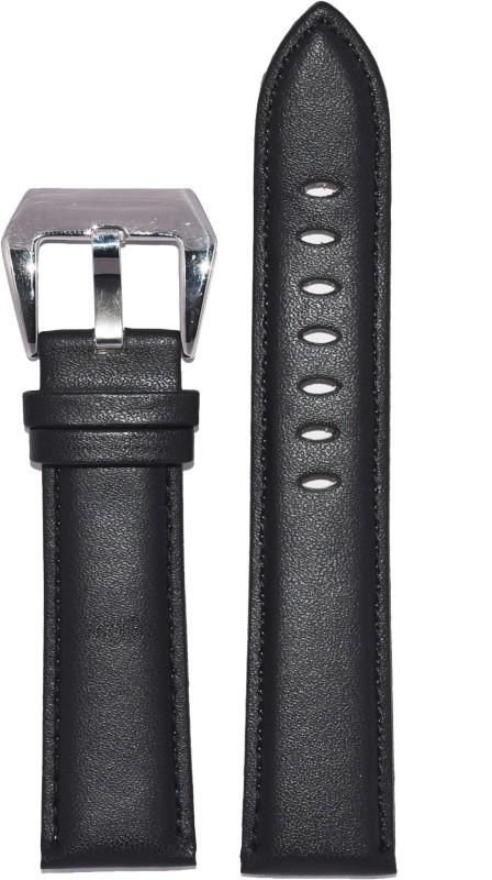 Kolet Plain Padded 24B 24 mm Leather Watch Strap(Black)