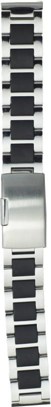 Kolet Steel Black 24 mm Steel Watch Strap(Silver, Black)