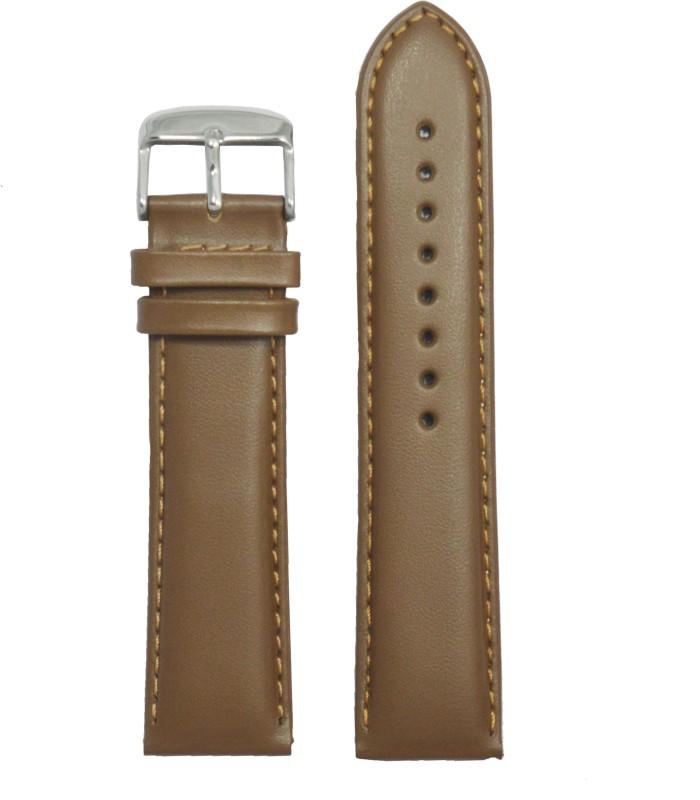 Kolet Plain Padded 24 mm Leather Watch Strap(Beige)