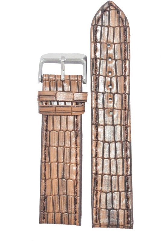 Kolet Textured Reptile 24LBR 24 mm Leather Watch Strap(Light brown)