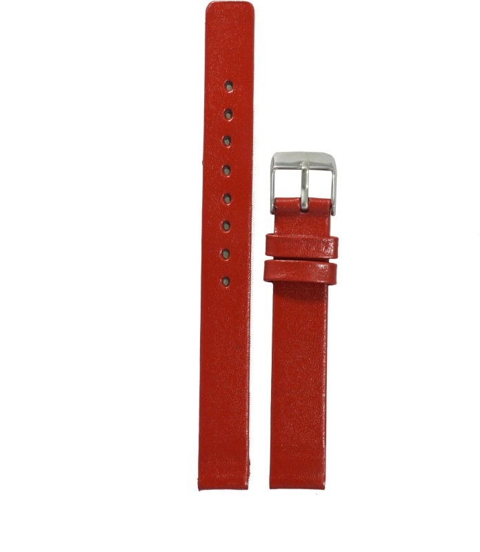 Kolet Glossy Finish R 14 mm Leather Watch Strap(Red)