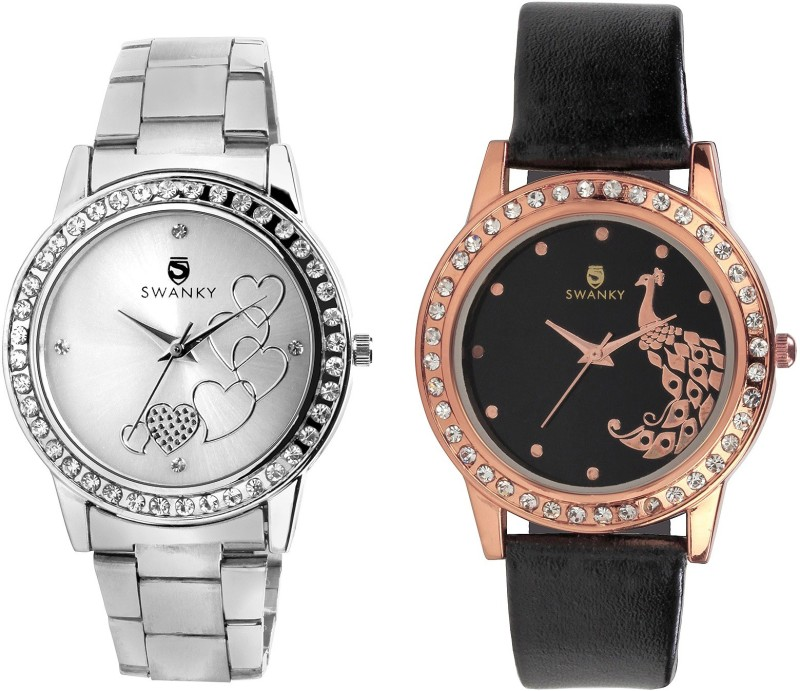 Swanky F-Cmb_Fnsyhrt_Pikok_Slv-Blk Analog Watch - For Girls