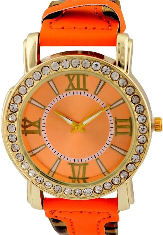 Genevaa Fashion Perfect Orange Dial Leopard Print Strap Designer Analog Watch - For Girls