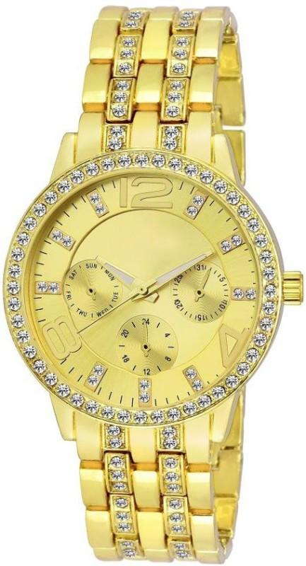 Declasse GENEVA-SERIES GOLDEN COLOR DIAMOND STUDDED Analog Watch - For Girls
