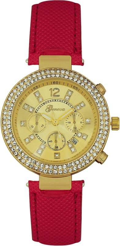 Geneva Platinum Double Layer Studded GP 249 Analog Watch - For Women