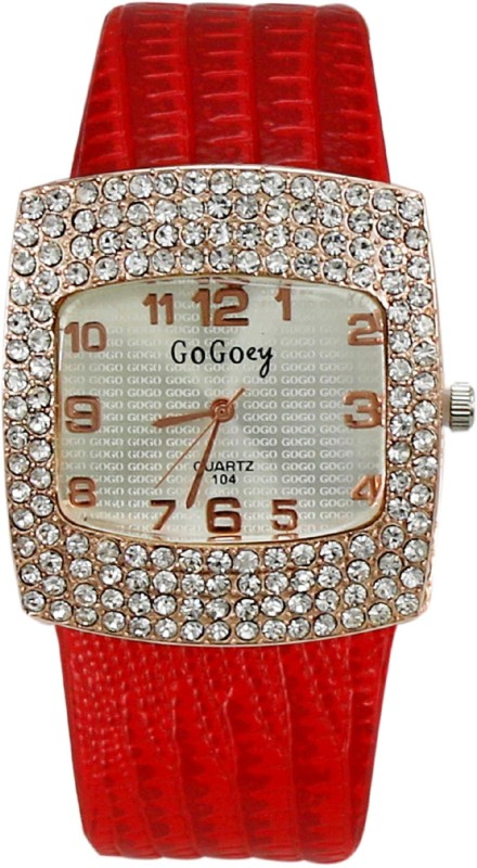Gogoey Big Dial Studded Analog Watch - For Women