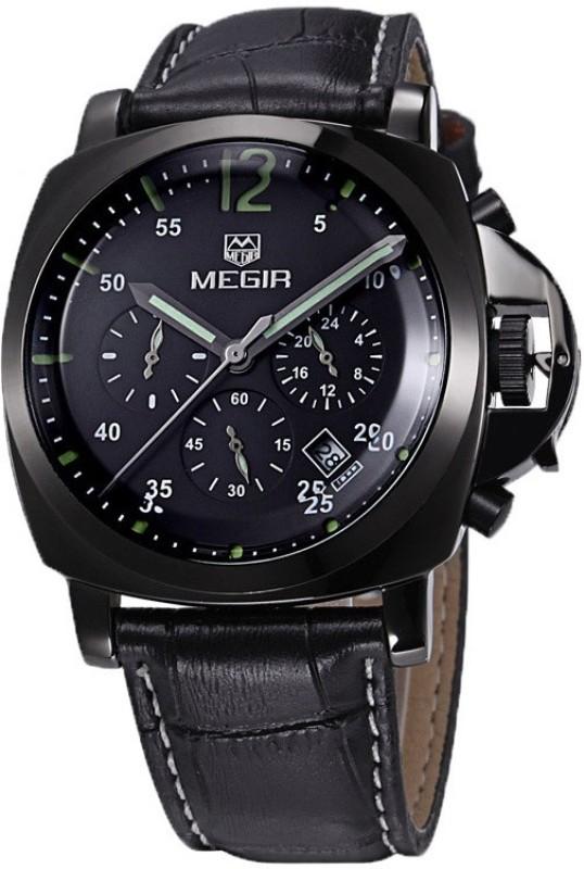 Megir Gmarks-3006-Black leather Executive Analog Watch - For Men