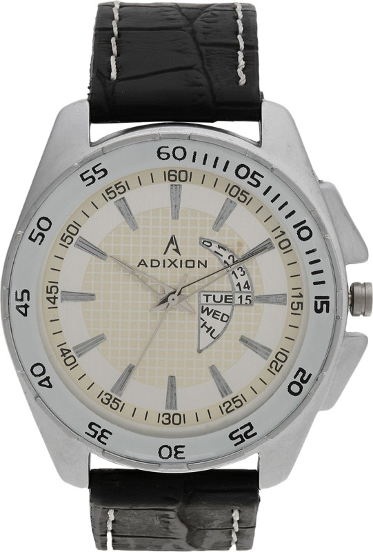 ADIXION 1582SL03 New Black Leather Step watch Analog Watch - For Men
