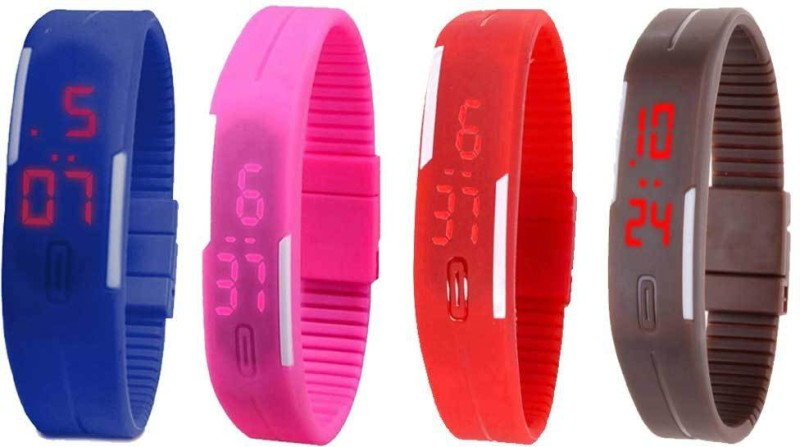 ns18-silicone-led-magnet-band-combo-of-4-blue-pink-red-and-brown-watch-for-boys-girls