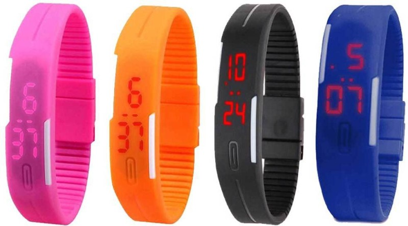 ns18-silicone-led-magnet-band-combo-of-4-pink-orange-black-and-blue-watch-for-boys-girls