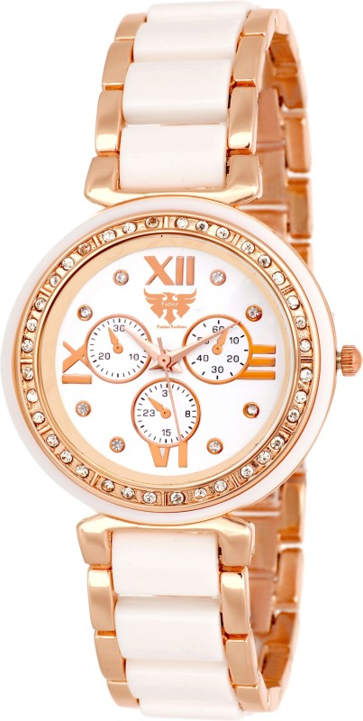2. Fadiso Fashion FF-730-WHTGOLD Dazzle Watch - For Women