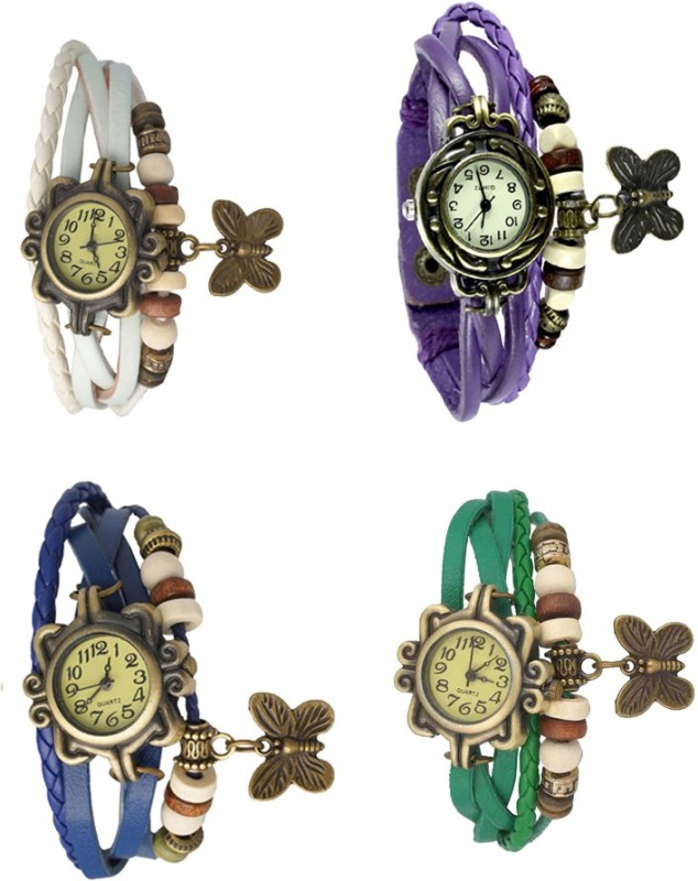 ns18-vintage-butterfly-rakhi-combo-of-4-white-blue-purple-and-green-watch-for-women