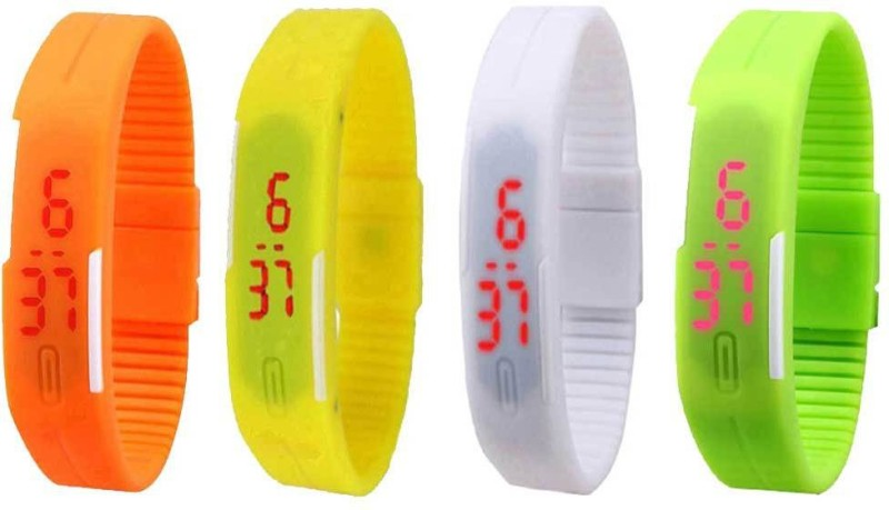 ns18-silicone-led-magnet-band-combo-of-4-orange-white-yellow-and-green-watch-for-boys-girls