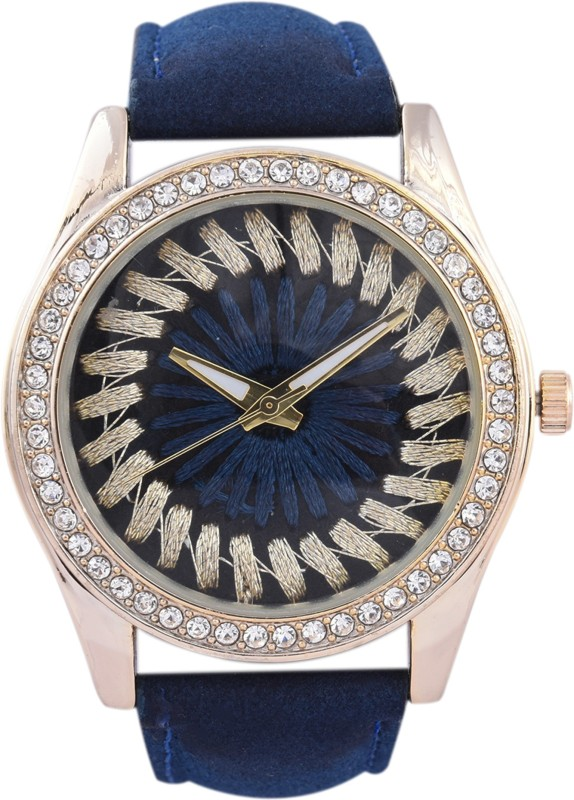 3wish Handmade Dark Blue Dial Leather Strap Watch - For Women