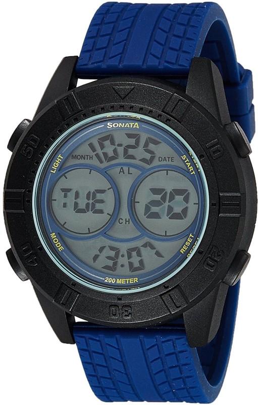 Sonata 77038PP01 Digital Watch - For Men